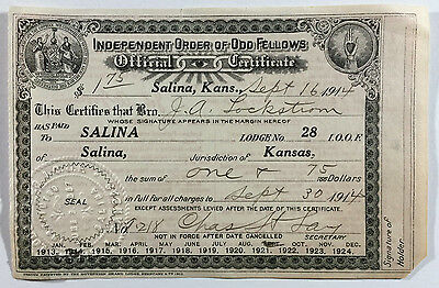VTG Independent Order of Odd Fellows Official Certificate, Salina Kansas 1914