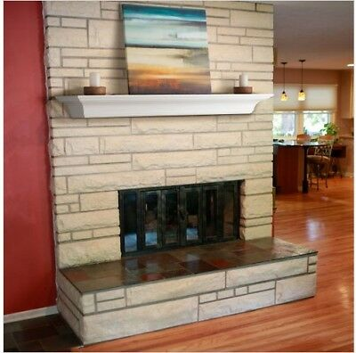 Wood Fireplace Mantel 6 Foot White Floating Home Living Room Wall Beam Shelf New