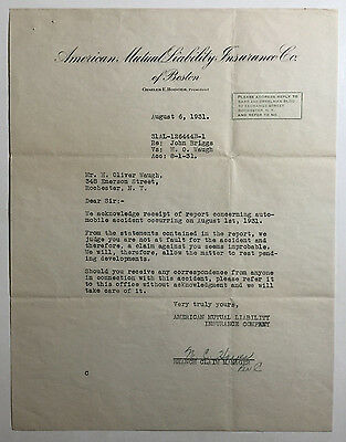 Vintage Letterhead, American Mutual Liability Insurance Co. of Boston, 1931