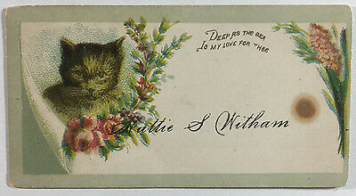 Victorian Calling Card with Embossed Cat & Flowers Hattie S. Witham