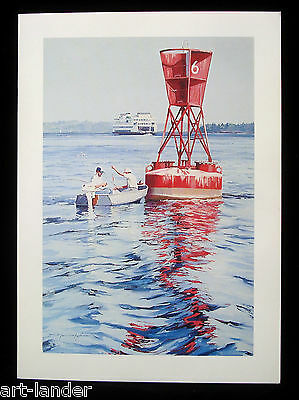 8 Puget Sound Fishing Boat WA State Ferry Fine Art Note Cards, Marshall Johnson
