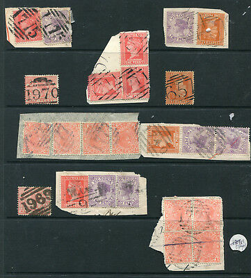 VICTORIA BARRED NUMERALS FROM 661 to 1969 MOSTLY ON PIECES X 9 GOOD LOT