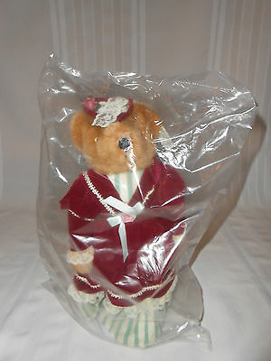 Avon Victorian Teddy 1995 Collectibles Teddy Bear W/ Stand & Coa~Sealed/nib
