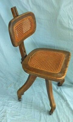 Typewriter Antique Chair 1920s  Bankers Office Desk Vintage Solid Wood Cane Seat