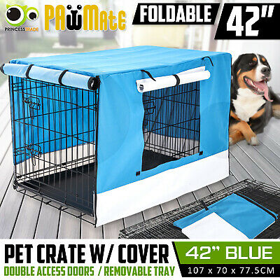 "42"" Pet Dog Puppy Cage Waterproof Cover Collapsible Metal Crate Kennel Cat"
