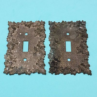 2 Vtg American Tack 1967 Metal Brass Single Light Switch Plate Cover Floral FLAW