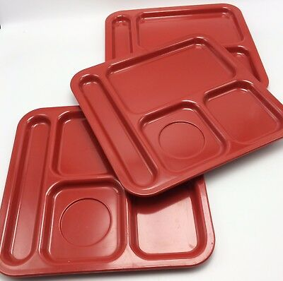 3 Red Texas Ware Cafeteria Lunch Trays Square 5 Compartment Melamine #137 Vtg