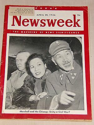 Rare Original Newsweek April 1946 Magazine Chiang Kai Shek's China Civil War