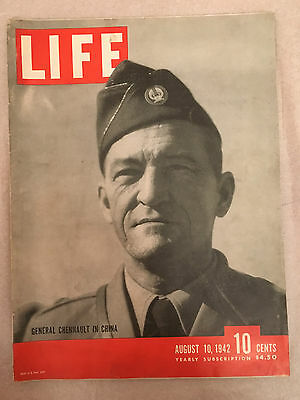 August 1942 Life Magazine On General Chennault In China,flying Tiger飞虎空军陈纳德将军在中国