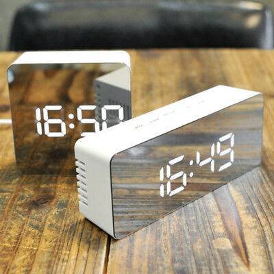 Multifunction Digital LCD Screen LED Mirror Clock Alarm with Temperature Snooze