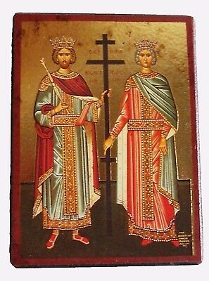 Byzantine Orthodox Lithography Icon Constantine and Helene