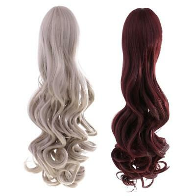2pcs Long Curly Wig Heat Resistant Hair for 18'' American Girl Dolls 40cm