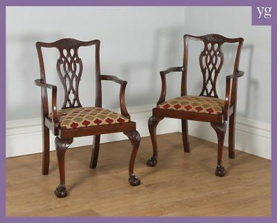 Antique Pair 2 Georgian Chippendale Style Mahogany Office Desk Dining Armchairs