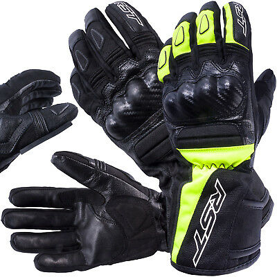 RST MP-1 Waterproof Warm Textile Leather Mix Motorcycle Gloves Black / Black Flo