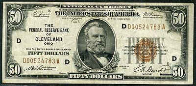 United States $50 Nat'l Currency The Federal Reserve Bank Of Celeveland Oh 1929