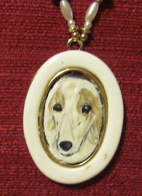 Borzoi, Russian Wolfhound, hand painted on oval picture frame pendant/bead/neckl