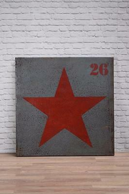 Vintage Industrial 3ft Metal Steel Red Star Wall Art Sign Panel