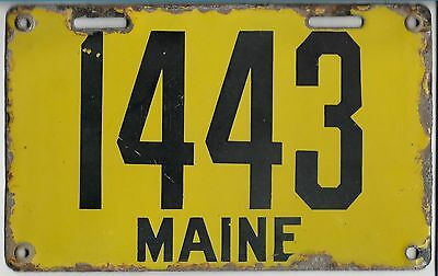 1912  MAINE  Porcelain  License  Plate  1443    Nice  Condition