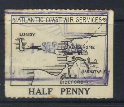 GB LUNDY 1/2d ATLANTIC COAST AIR SERVICES USED