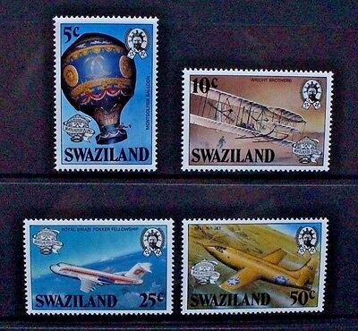 SWAZILAND 1983 Manned Flight Aircraft. Set of 4. Mint Never Hinged. SG431/434.