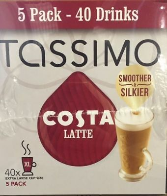 TASSIMO Costa Latte Coffee 8 servings (Pack of 5, Total 80 discs/pods)