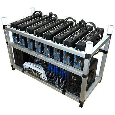 8-GPU Stackable Cryptocurrency Solo/Dual Miner 220 MH/s Ethereum+20 altcoins!