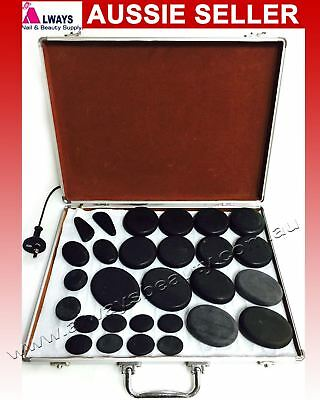 Hot Stone Heater Kit 28Pc+ Large Case for Spa Hot Stones Massage Aussie Stock