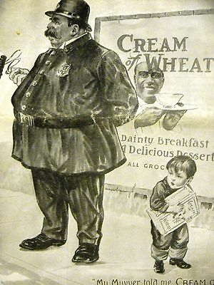Wallace CREAM OF WHEAT Ad FAT POLICEMAN & BOY 1916 Matted