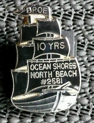 B.P.O.E. 10 Yrs Pin - Ocean Shores North Beach #2581