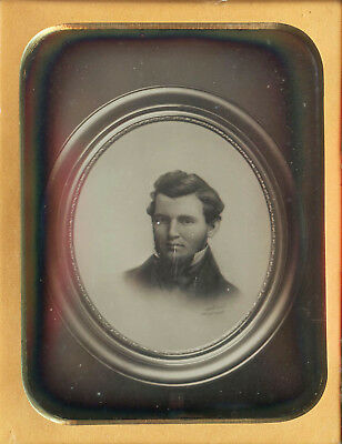 Unusual Copy Painted Photo ? Frame Domed Glass Handsome Man Quarter Plate Dag
