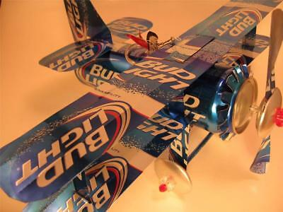 Bud Light Beer Can Airplane - Unique - Handmade - wind spinner-can art- airplane