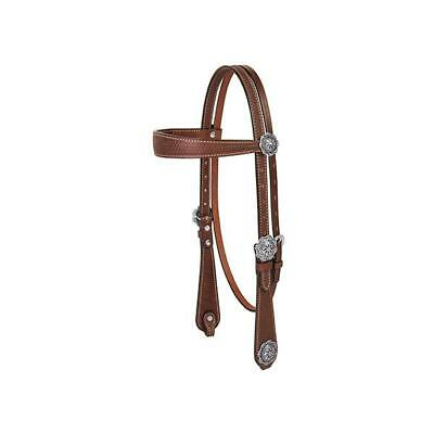 Weaver Leather Basin Cowboy Browband Headstall, Brown
