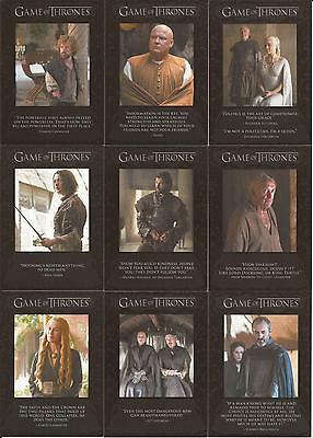 Game of Thrones Season 5 Trading Cards - The Quotable Special-Set (Q41 - Q49)