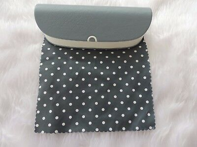 Used - Grey & white  glasses / sunglasses case & cloth - proceeds to charity