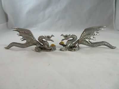 Vintage Decorative Collectibles Spoontiques Pewter Twin Dragons w/ Gems