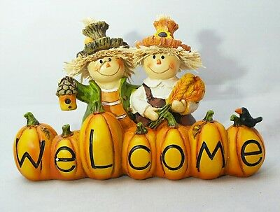 Scarecrow Welcome Fall Harvest Thanksgiving Table Decor Centerpiece Gift