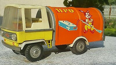 Vintage Tin Toy Truck Vacuum Cleaner  Dumptruck Friction Plastic Rubber Poland
