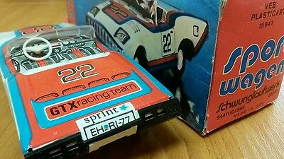 Vintage Tin Litho Car Friction Gdr Germany Gtx Racing Team Sport Original Box