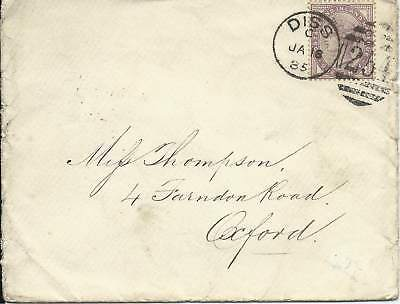 GB 1885 1d Lilac Cover with Diss 254 Duplex to Oxford