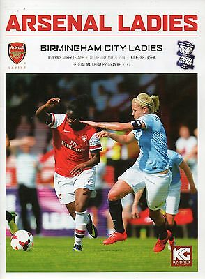 Arsenal Ladies v Birmingham City Ladies 21 May 2014 Womens Super Lge Programme