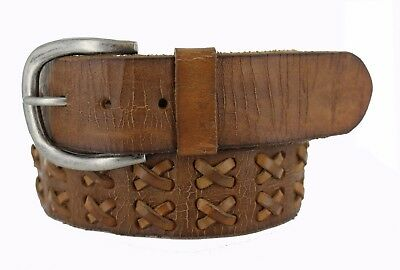 """GENUINE FULL GRAIN LEATHER WOVEN LACED BELT 1-3/4"""" WIDE= 44.45 mm: TAN NEW"""