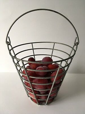 Vintage Rustic Metal Egg / Fruit Basket with Handle ~ Farmhouse Chic