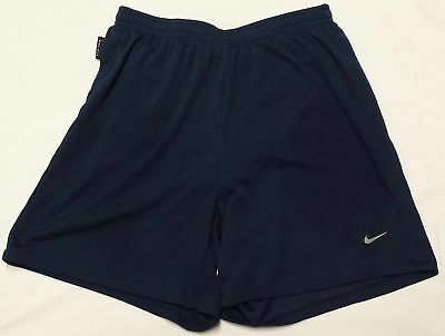 Men's NIKE DRI FIT Navy Blue Stretch Polyester Athletic Running Shorts Medium M