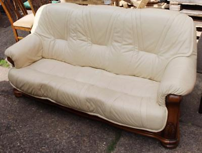 Comfortable Leather Sofa Carved Oak Frame & Matching Oak Coffee Table