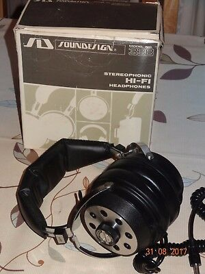 BOXED Vintage SOUNDESIGN Stereophonic Hi-Fi HEADPHONES Model 338 VGC Working