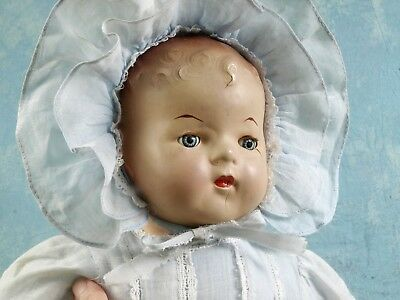 Antique MAMA Doll Reliable COMPOSITION Blue Pinwheel eyes