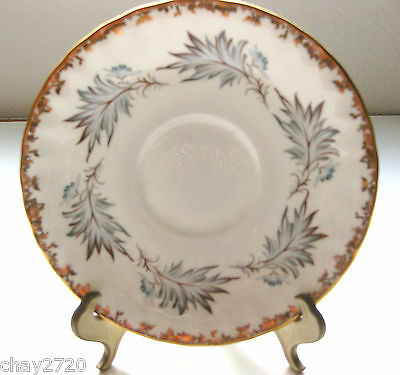 Vtg. Aynsley Bone China Saucer Only With Gray Leaves/ Gold Rim, England