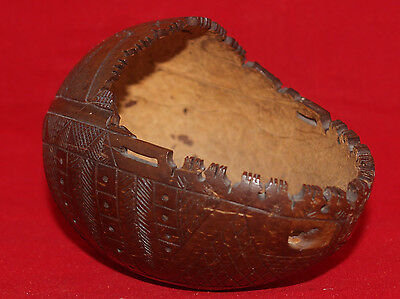 Antique Coconut Folk Art Carving Geometric Abstract Aafa Sailor Maritime Cup