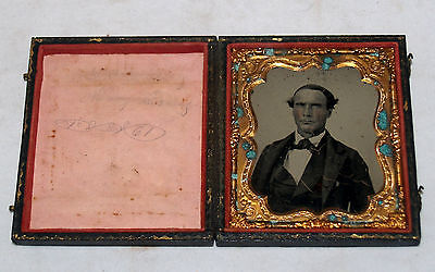 Antique Ambrotype Photograph Old Stern Weathered Man