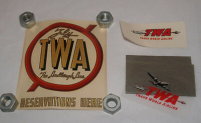 Group Lot Of 3 Vintage Twa Airline Airplane Decal Window Sticker Transparency